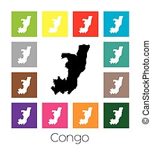Multicoloured Map of the country of Congo - Multicoloured...