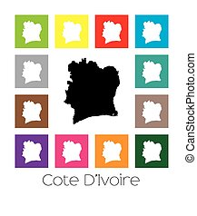 Multicoloured Map of the country of Cote Divoire -...