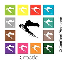 Multicoloured Map of the country of Croatia - Multicoloured...