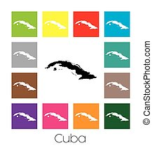 Multicoloured Map of the country of Cuba - Multicoloured Map...
