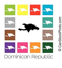 Multicoloured Map of the country of Dominican Republic -...