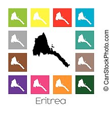 Multicoloured Map of the country of Eritrea - Multicoloured...