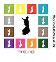 Multicoloured Map of the country of Finland - Multicoloured...