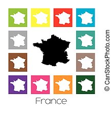 Multicoloured Map of the country of France - Multicoloured...