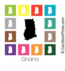 Multicoloured Map of the country of Ghana - Multicoloured...