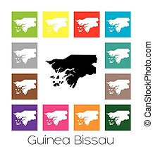 Multicoloured Map of the country of Guinea Bissau -...