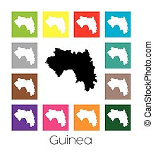 Multicoloured Map of the country of Guinea - Multicoloured...