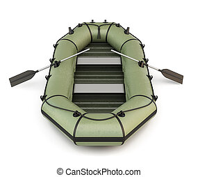 Green inflatable rubber boat isolated on white background....