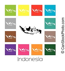 Multicoloured Map of the country of Indonesia -...