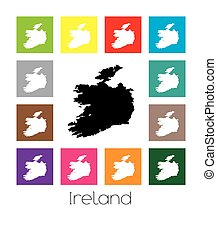 Multicoloured Map of the country of Ireland - Multicoloured...