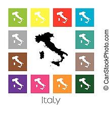 Multicoloured Map of the country of Italy - Multicoloured...