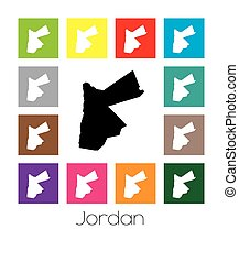 Multicoloured Map of the country of Jordan - Multicoloured...