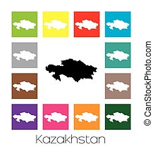 Multicoloured Map of the country of Kazakhstan -...