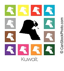 Multicoloured Map of the country of Kuwait - Multicoloured...