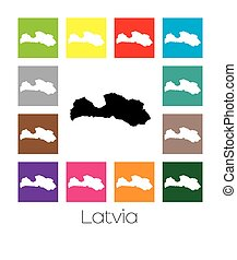 Multicoloured Map of the country of Latvia - Multicoloured...
