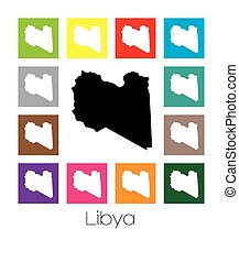Multicoloured Map of the country of Libya - Multicoloured...