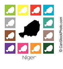 Multicoloured Map of the country of Niger - Multicoloured...