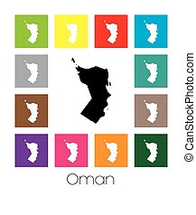 Multicoloured Map of the country of Oman - Multicoloured Map...