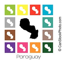 Multicoloured Map of the country of Paraguay - Multicoloured...