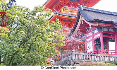 Kiyomizu temple tower Kyoto Japan - Video of kiyomizu temple...