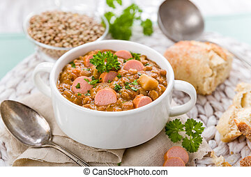 fresh lentil stew with sausages