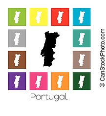 Multicoloured Map of the country of Portugal - Multicoloured...