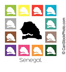 Multicoloured Map of the country of Senegal - Multicoloured...