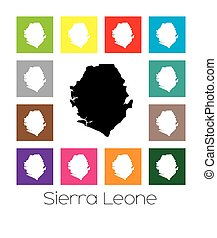 Multicoloured Map of the country of Sierra Leone -...
