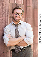 Hipster businessman outdoors - Happy hipster businessman...