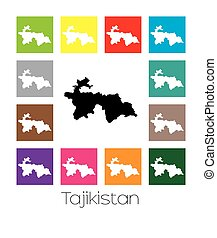 Multicoloured Map of the country of Tajikistan -...