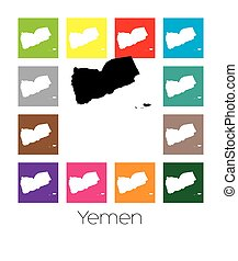 Multicoloured Map of the country of Yemen - Multicoloured...