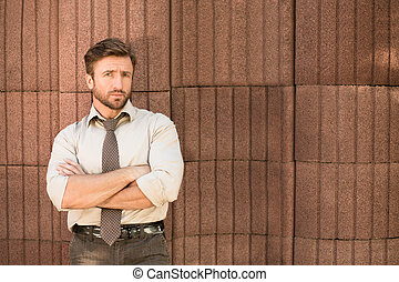 Hipster businessman outdoors - Serious hipster businessman...