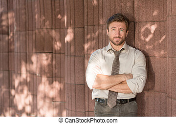 Hipster businessman outdoors - Beautiful image of handsome...