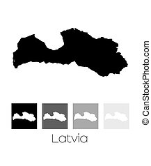 Map of the country of Latvia - A Map of the country of...