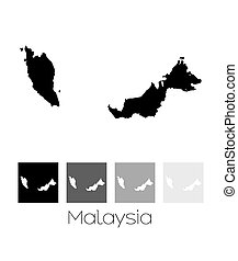Map of the country of Malaysia