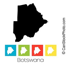 Outlines and Coloured Squares of the Country of Botswana - A...