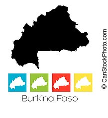 Outlines and Coloured Squares of the Country of Burkina Faso...