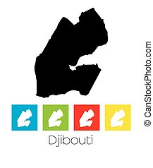 Outlines and Coloured Squares of the Country of Djibouti - A...