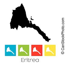 Outlines and Coloured Squares of the Country of Eritrea - A...