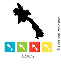 Outlines and Coloured Squares of the Country of Laos - A Map...