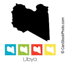 Outlines and Coloured Squares of the Country of Libya - A...