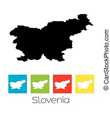 Outlines and Coloured Squares of the Country of Slovenia - A...