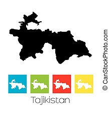 Outlines and Coloured Squares of the Country of Tajikistan -...