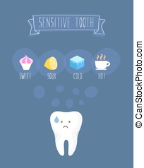 Sensitive tooth flat vector illustration on blue