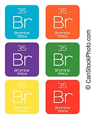 Informative Illustration of the Periodic Element - Bromine -...
