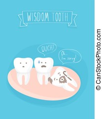 comics about wisdom tooth, vector on blue