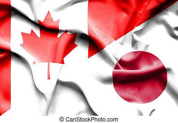 waving, bandeira, de, Japão, e, Canadá,