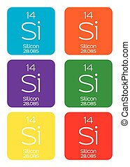 Informative Illustration of the Periodic Element - Silicon -...