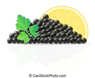black caviar with lemon and parsley vector illustration...