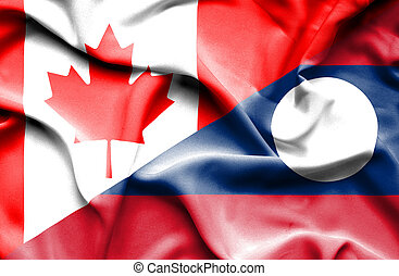 Waving flag of Laos and Canada